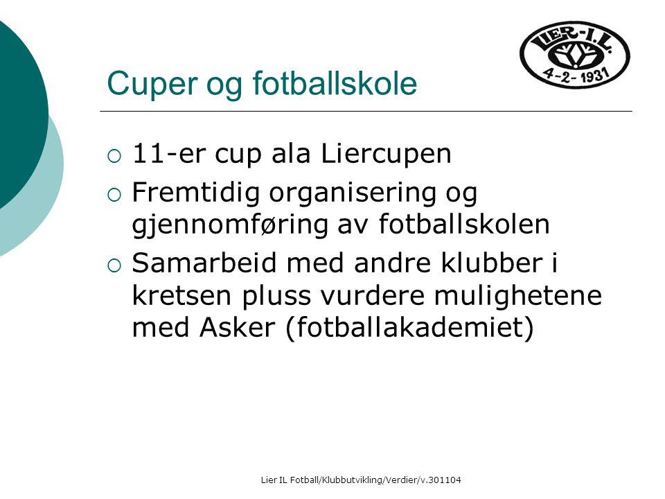 Lier IL Fotball/Klubbutvikling/Verdier/v.301104 Cuper og fotballskole  11-er cup ala Liercupen  Fremtidig organisering og gjennomføring av fotballsk