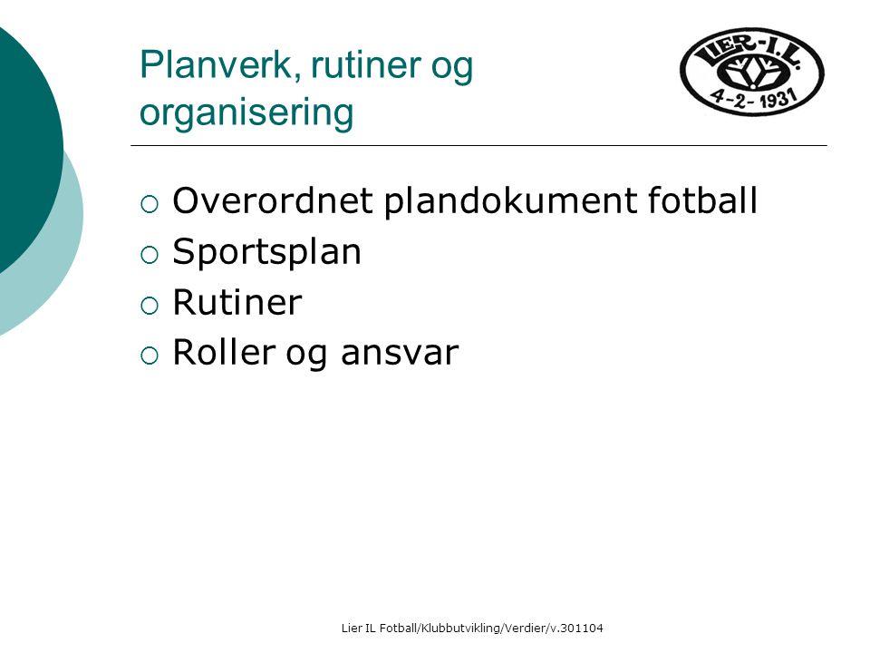 Lier IL Fotball/Klubbutvikling/Verdier/v.301104 Planverk, rutiner og organisering  Overordnet plandokument fotball  Sportsplan  Rutiner  Roller og