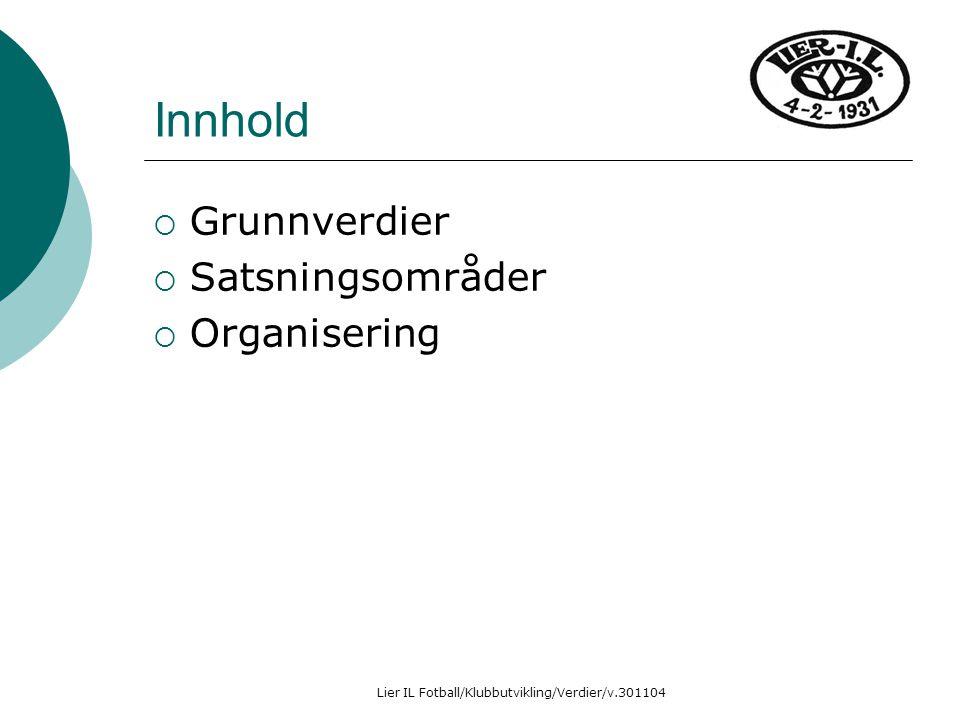 Lier IL Fotball/Klubbutvikling/Verdier/v.301104 Innhold  Grunnverdier  Satsningsområder  Organisering