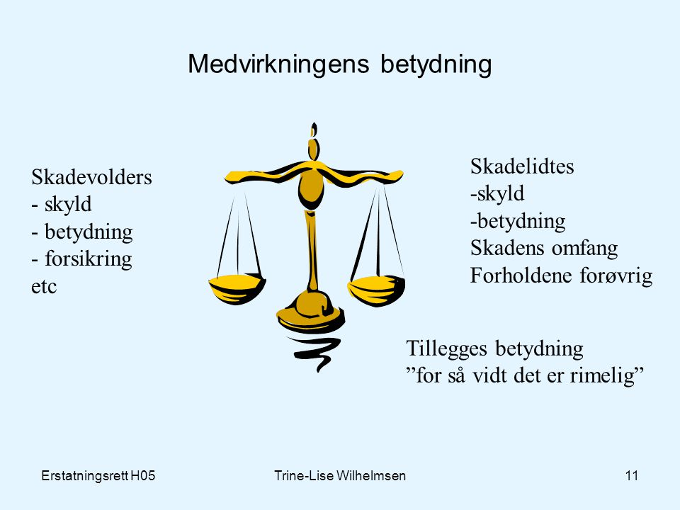 Erstatningsrett H05Trine-Lise Wilhelmsen11 Medvirkningens betydning Skadevolders - skyld - betydning - forsikring etc Skadelidtes -skyld -betydning Sk