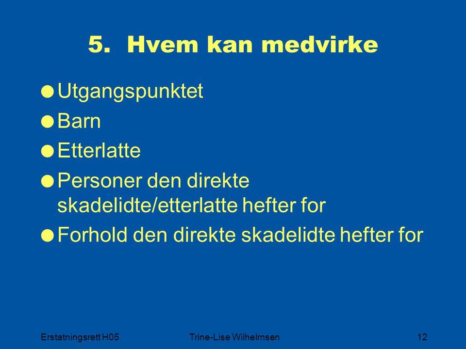 Erstatningsrett H05Trine-Lise Wilhelmsen12 5. Hvem kan medvirke  Utgangspunktet  Barn  Etterlatte  Personer den direkte skadelidte/etterlatte heft