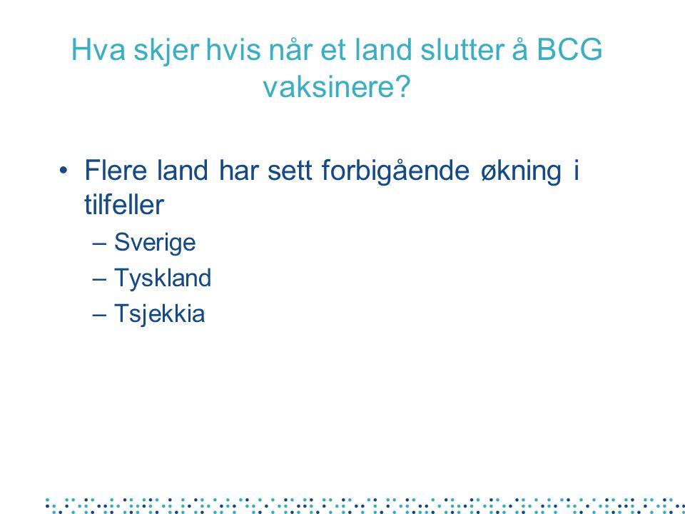 Hva skjer hvis når et land slutter å BCG vaksinere? Flere land har sett forbigående økning i tilfeller –Sverige –Tyskland –Tsjekkia