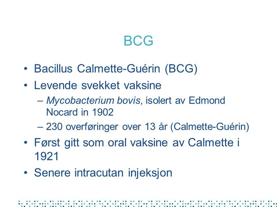 BCG Bacillus Calmette-Guérin (BCG) Levende svekket vaksine –Mycobacterium bovis, isolert av Edmond Nocard in 1902 –230 overføringer over 13 år (Calmet