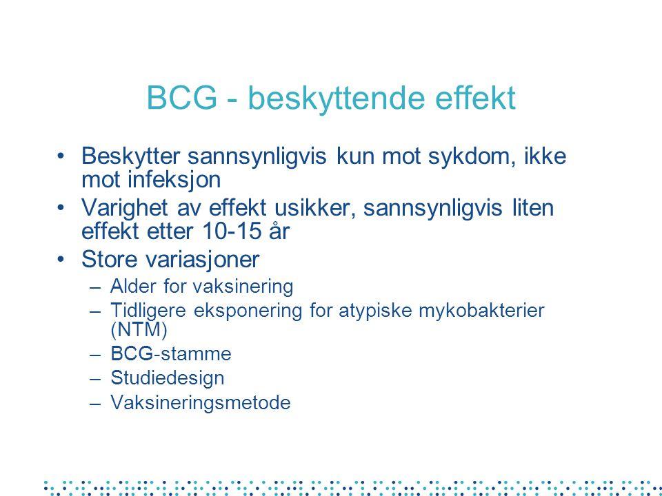 Hvor mange tilfeller av tuberkulose forebygges av BCG vaksine i Norge- et overslag Ca tre tilfeller/år