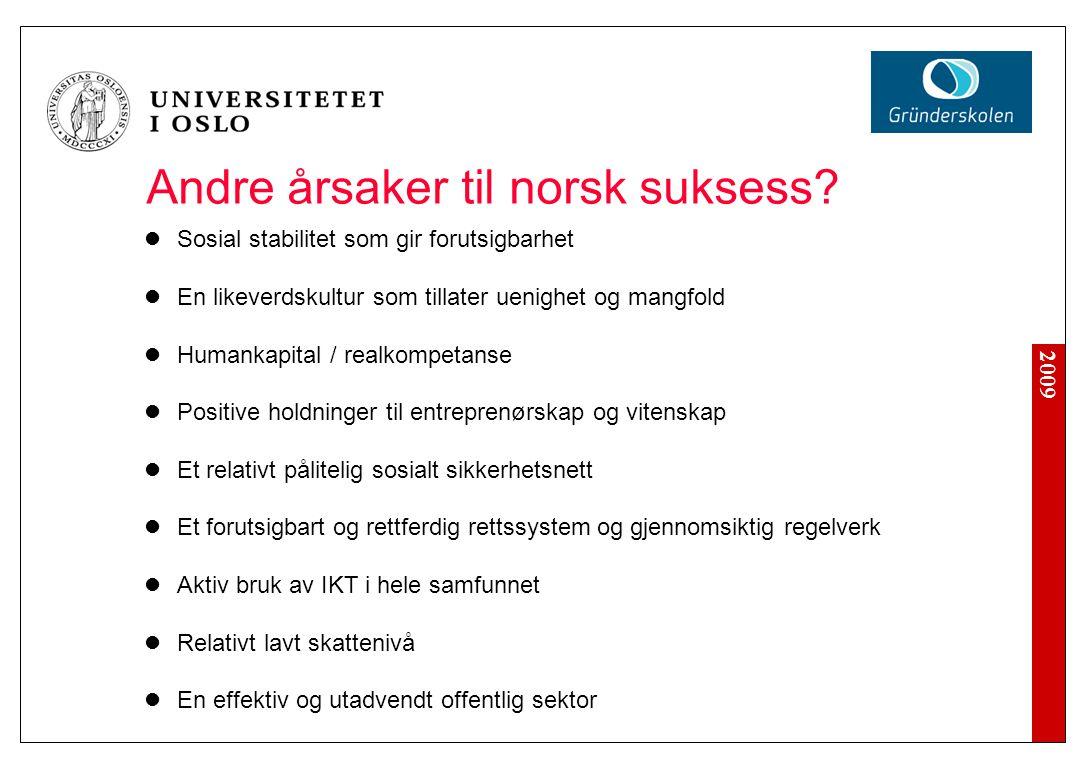 2009 Andre årsaker til norsk suksess.