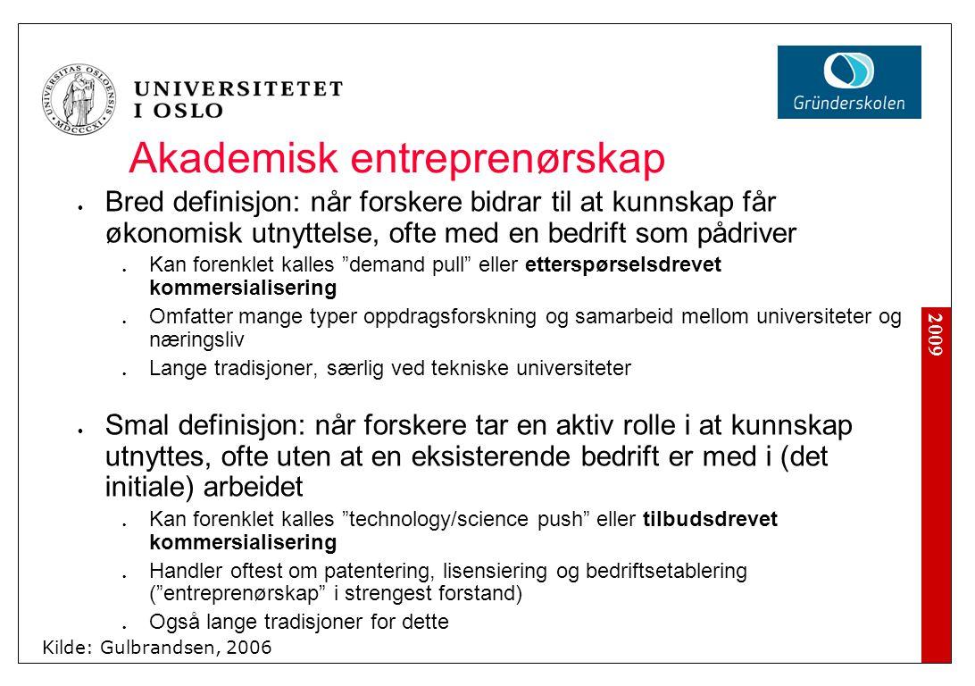 2009 Akademisk entreprenørskap Bred definisjon: når forskere bidrar til at kunnskap får økonomisk utnyttelse, ofte med en bedrift som pådriver Kan for