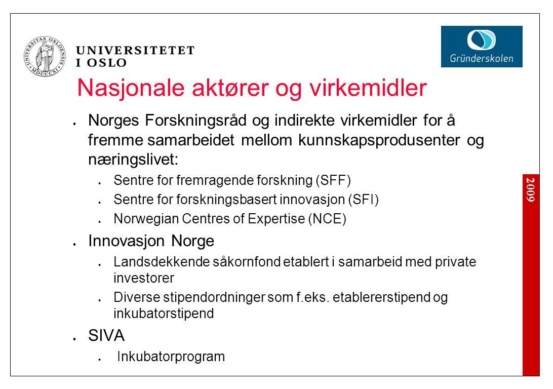 2009 Nasjonale aktører og virkemidler Norges Forskningsråd og indirekte virkemidler for å fremme samarbeidet mellom kunnskapsprodusenter og næringsliv