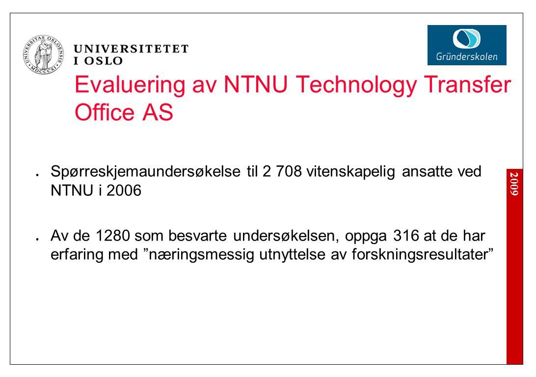 2009 Evaluering av NTNU Technology Transfer Office AS Spørreskjemaundersøkelse til 2 708 vitenskapelig ansatte ved NTNU i 2006 Av de 1280 som besvarte undersøkelsen, oppga 316 at de har erfaring med næringsmessig utnyttelse av forskningsresultater