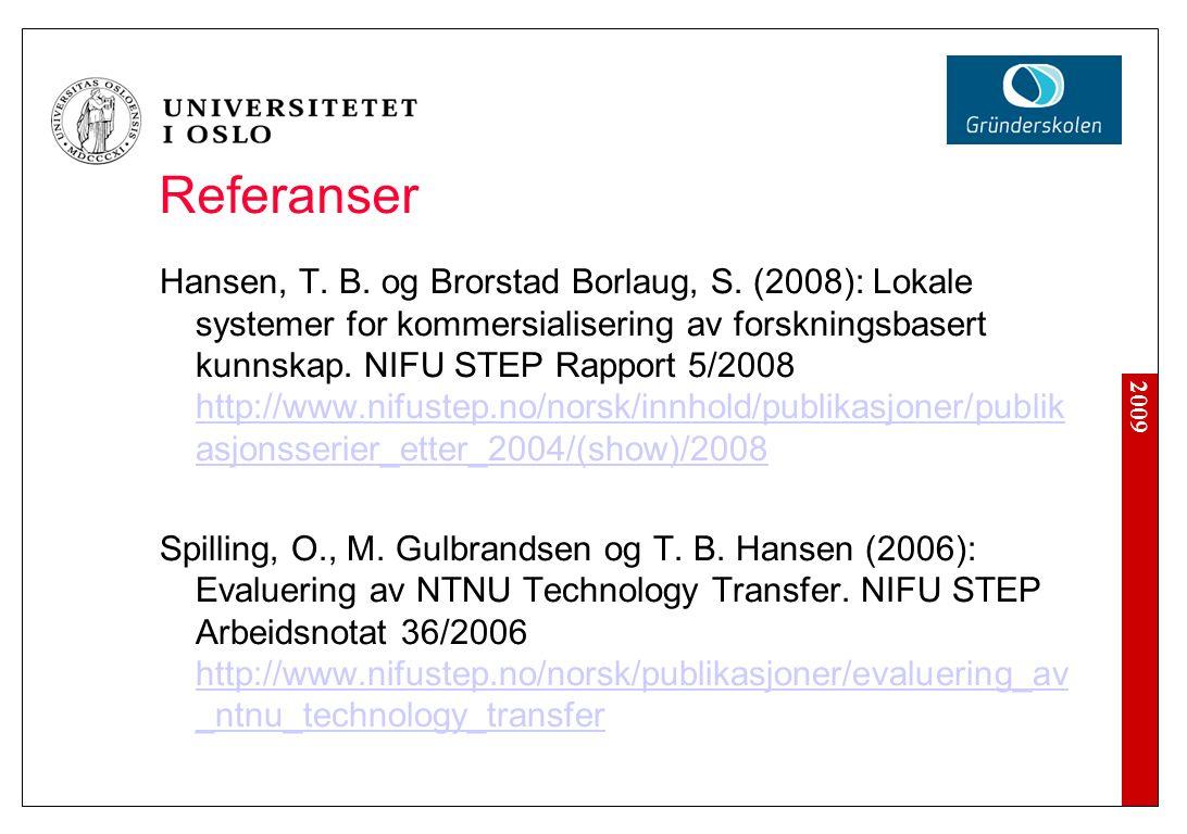 2009 Referanser Hansen, T. B. og Brorstad Borlaug, S. (2008): Lokale systemer for kommersialisering av forskningsbasert kunnskap. NIFU STEP Rapport 5/