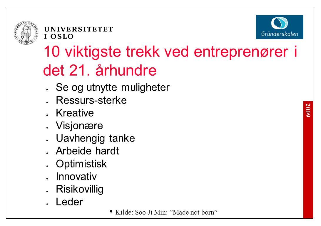 2009 10 viktigste trekk ved entreprenører i det 21. århundre Se og utnytte muligheter Ressurs-sterke Kreative Visjonære Uavhengig tanke Arbeide hardt