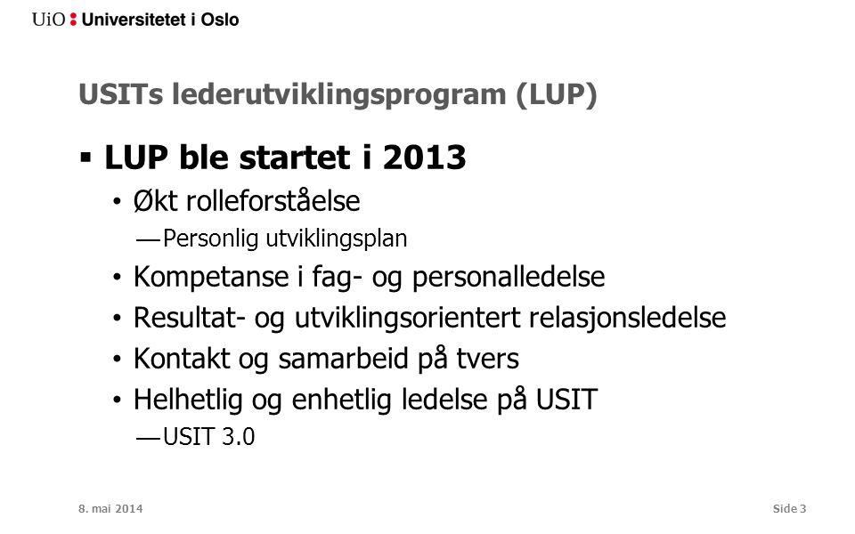 USITs lederutviklingsprogram (LUP)  LUP ble startet i 2013 Økt rolleforståelse —Personlig utviklingsplan Kompetanse i fag- og personalledelse Resulta