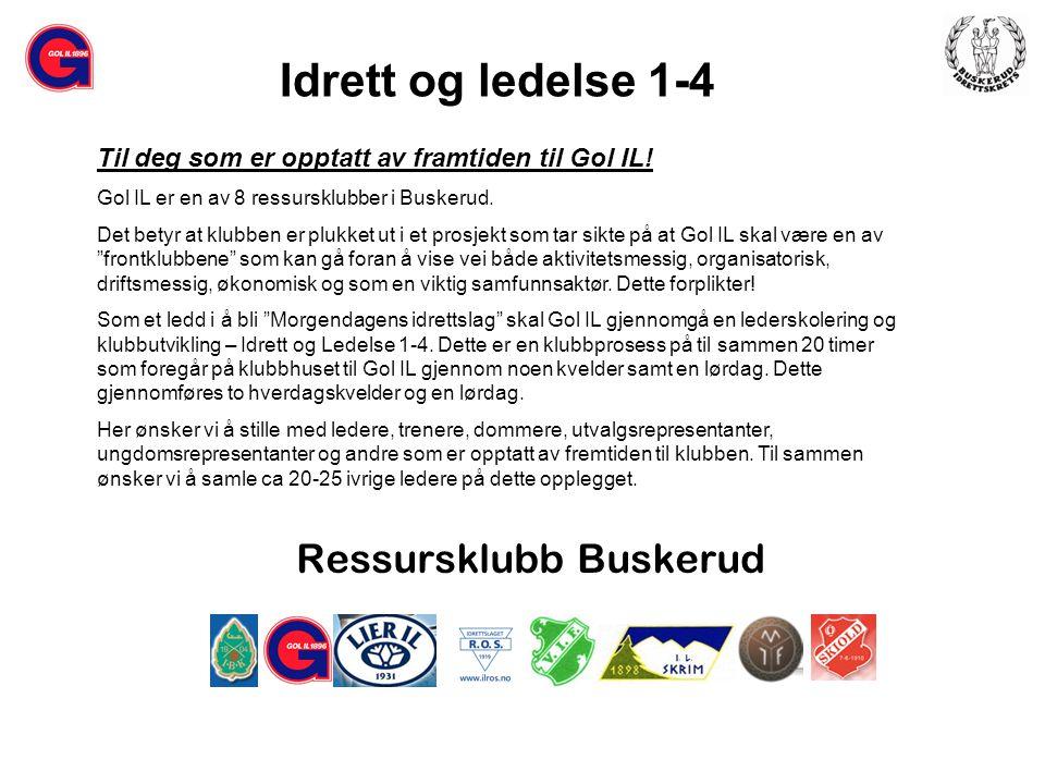 Ressursklubb Buskerud Til deg som er opptatt av framtiden til Gol IL.