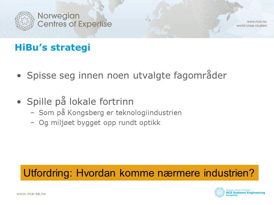 www.nce-se.no HiBu's strategi Spisse seg innen noen utvalgte fagområder Spille på lokale fortrinn –Som på Kongsberg er teknologiindustrien –Og miljøet bygget opp rundt optikk Utfordring: Hvordan komme nærmere industrien?