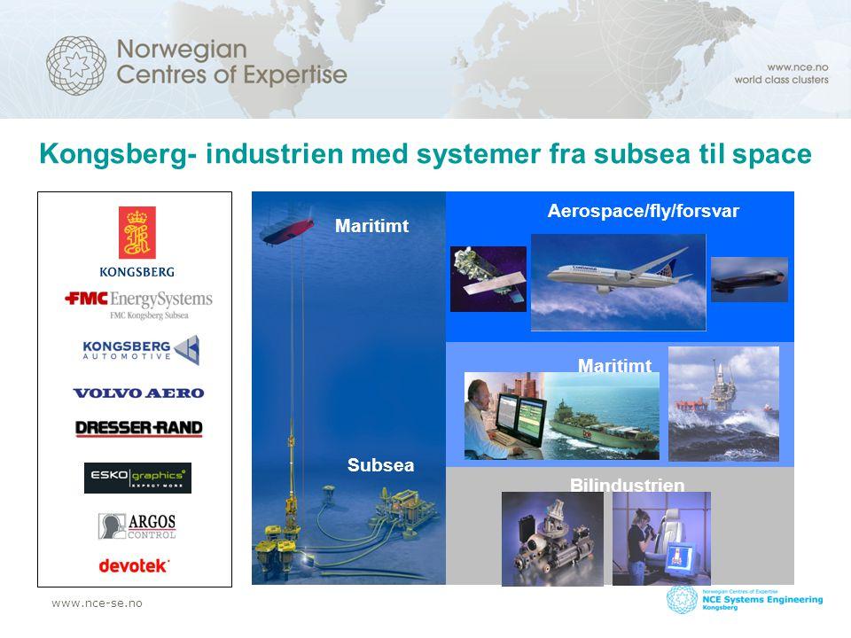 www.nce-se.no NCEs hovedmålsetting NCE ble introdusert i 2004 som et nytt og tungt program for videreutvikling av etablerte næringsklynger –Klyngens kjernebedrifter må være verdensledende –Det må foregå innovasjon på høyt proffesjonelt nivå Kongsberg fikk sin NCE status i 2006
