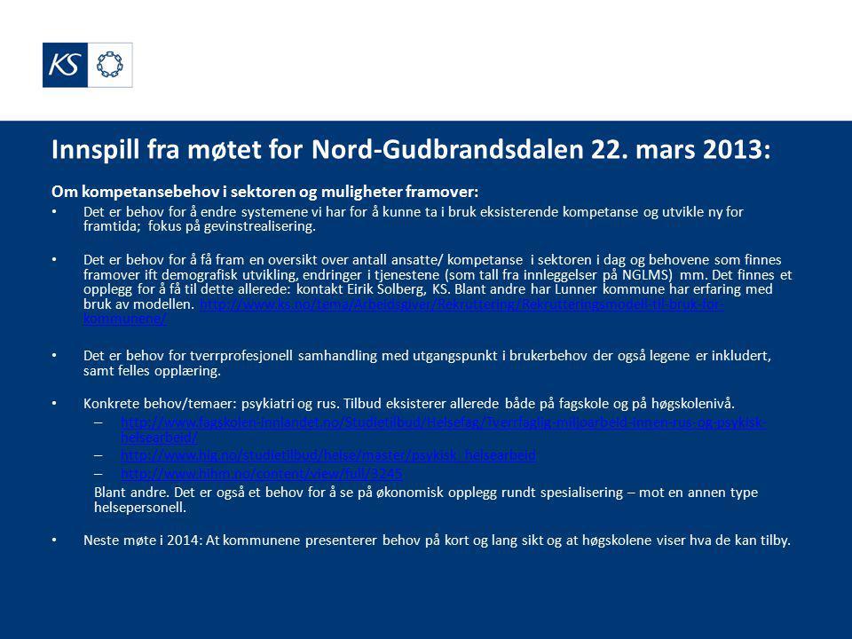 Innspill fra møtet for Nord-Gudbrandsdalen 22.