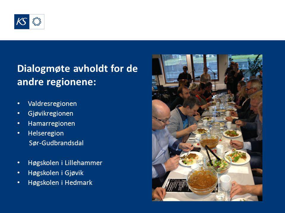 Dialogmøte avholdt for de andre regionene: Valdresregionen Gjøvikregionen Hamarregionen Helseregion Sør-Gudbrandsdal Høgskolen i Lillehammer Høgskolen i Gjøvik Høgskolen i Hedmark
