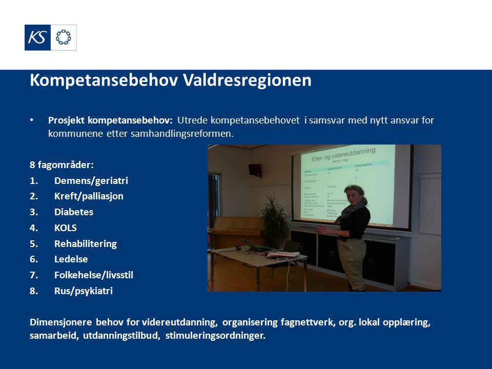Kompetansebehov Valdresregionen Prosjekt kompetansebehov: Utrede kompetansebehovet i samsvar med nytt ansvar for kommunene etter samhandlingsreformen.