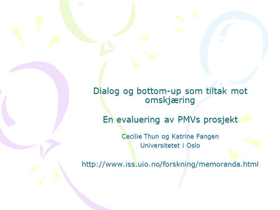 Dialog og bottom-up som tiltak mot omskjæring En evaluering av PMVs prosjekt Cecilie Thun og Katrine Fangen Universitetet i Oslo http://www.iss.uio.no/forskning/memoranda.html