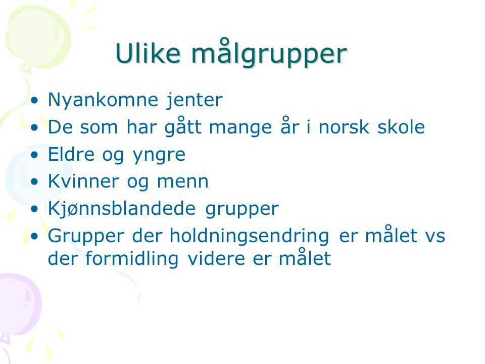 Ulike målgrupper Ulike målgrupper Nyankomne jenter De som har gått mange år i norsk skole Eldre og yngre Kvinner og menn Kjønnsblandede grupper Gruppe