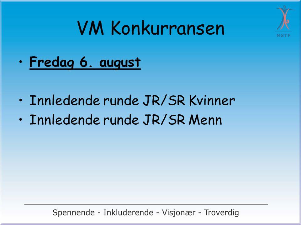 VM Konkurransen Fredag 6. august Innledende runde JR/SR Kvinner Innledende runde JR/SR Menn