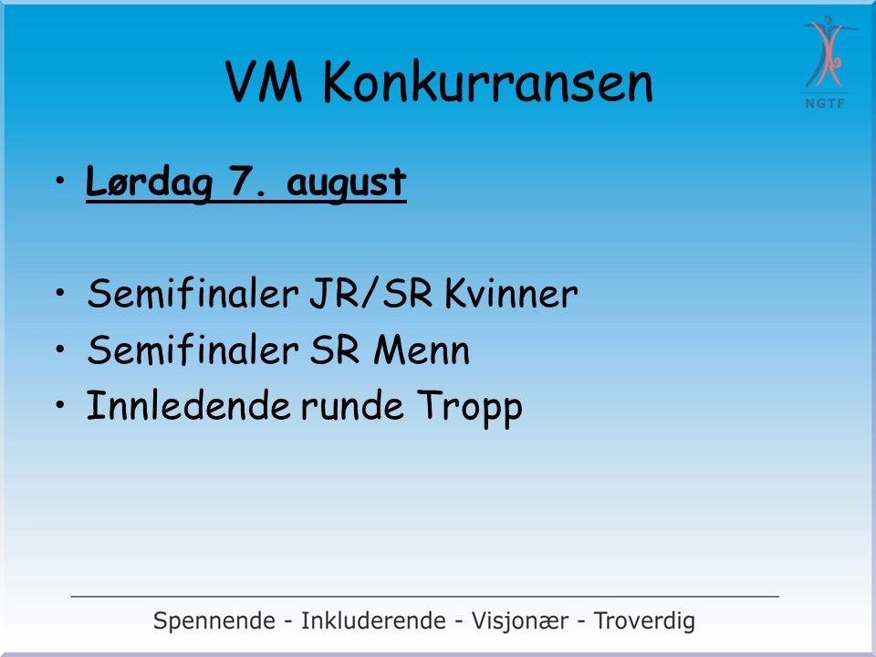 VM Konkurransen Lørdag 7. august Semifinaler JR/SR Kvinner Semifinaler SR Menn Innledende runde Tropp