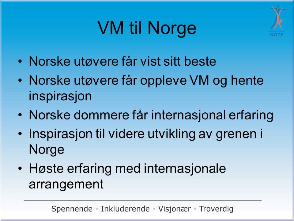 VM til Norge Norske utøvere får vist sitt beste Norske utøvere får oppleve VM og hente inspirasjon Norske dommere får internasjonal erfaring Inspirasj