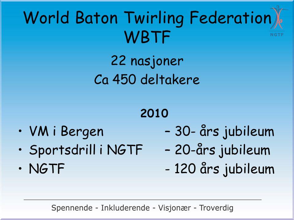 World Baton Twirling Federation WBTF 22 nasjoner Ca 450 deltakere 2010 VM i Bergen – 30- års jubileum Sportsdrill i NGTF – 20-års jubileum NGTF - 120