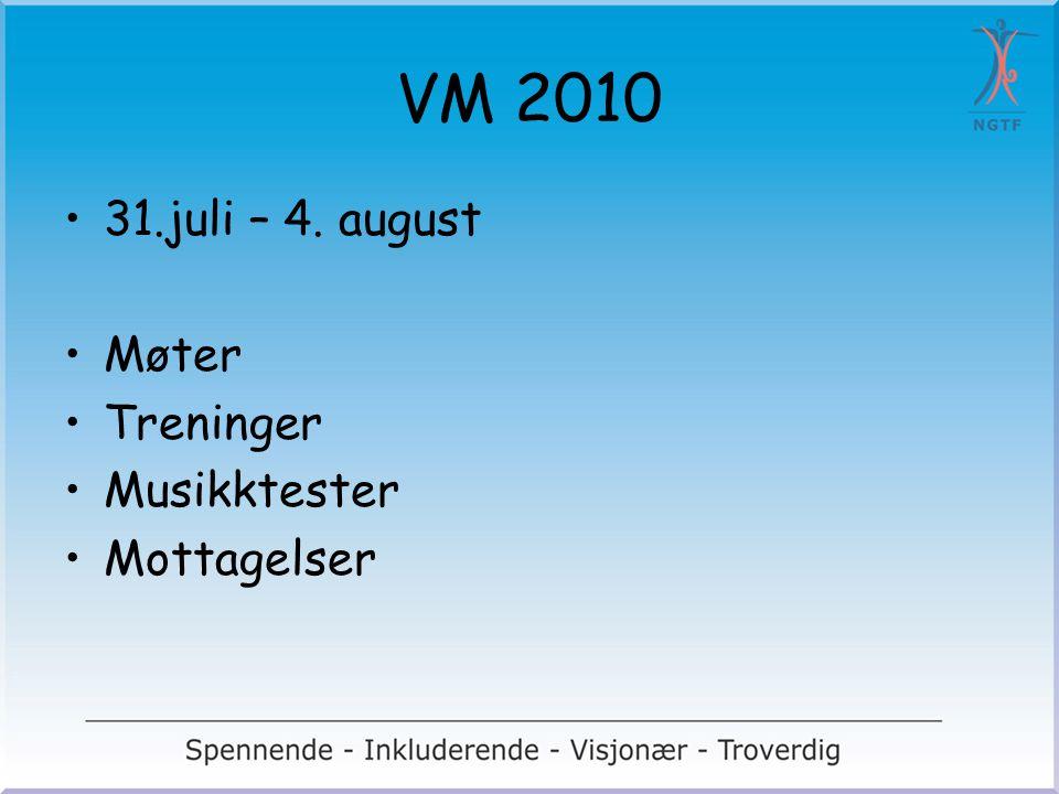 VM 2010 31.juli – 4. august Møter Treninger Musikktester Mottagelser