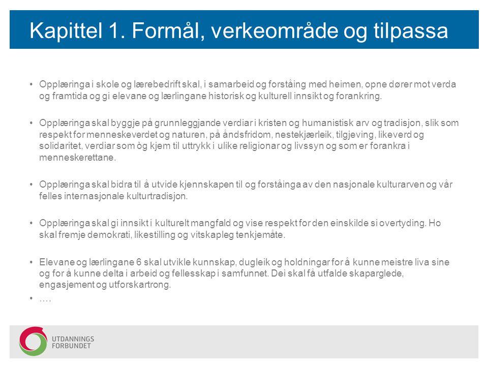 Kapittel 1. Formål, verkeområde og tilpassa opplæring m.m. Opplæringa i skole og lærebedrift skal, i samarbeid og forståing med heimen, opne dører mot