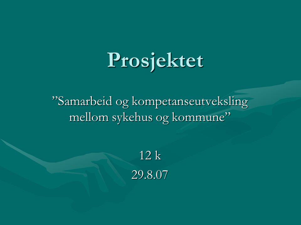 """Prosjektet """"Samarbeid og kompetanseutveksling mellom sykehus og kommune"""" 12 k 29.8.07"""