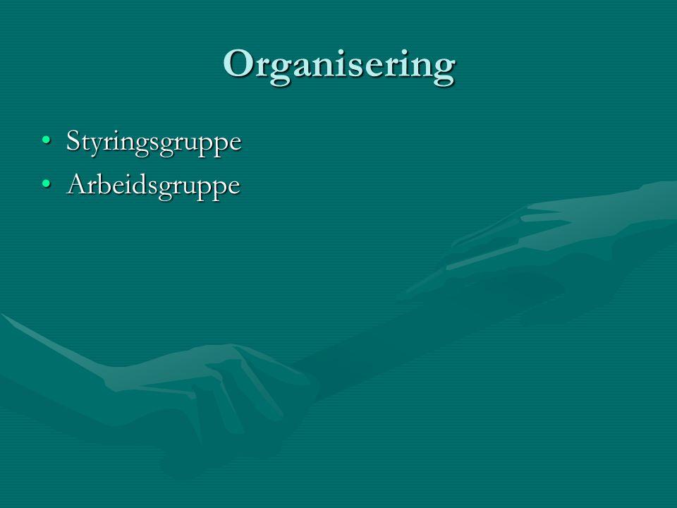 Organisering StyringsgruppeStyringsgruppe ArbeidsgruppeArbeidsgruppe