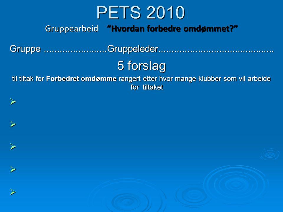 PETS 2010 Gruppearbeid Hvordan kan distriktet støtte klubber? Gruppe........................