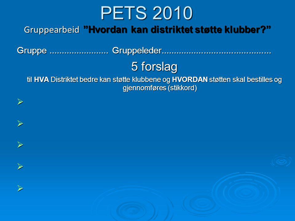 """PETS 2010 Gruppearbeid """"Hvordan kan distriktet støtte klubber?"""" Gruppe........................ Gruppeleder............................................"""