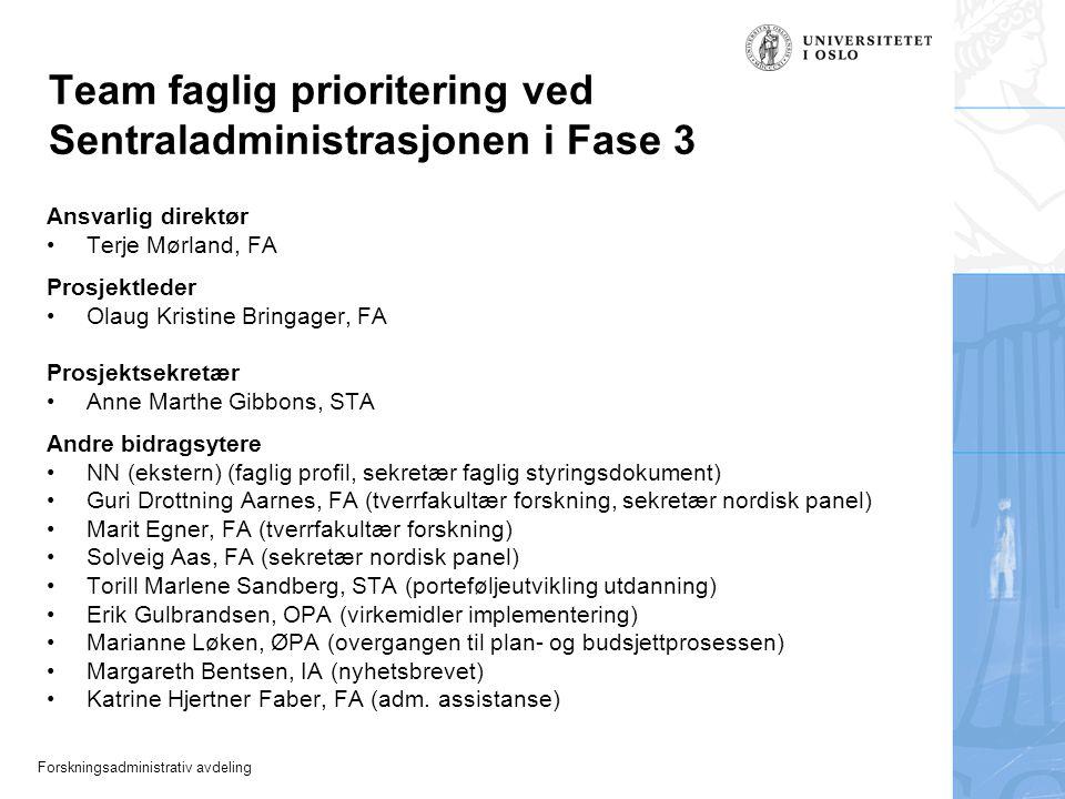 Forskningsadministrativ avdeling Team faglig prioritering ved Sentraladministrasjonen i Fase 3 Ansvarlig direktør Terje Mørland, FA Prosjektleder Olau