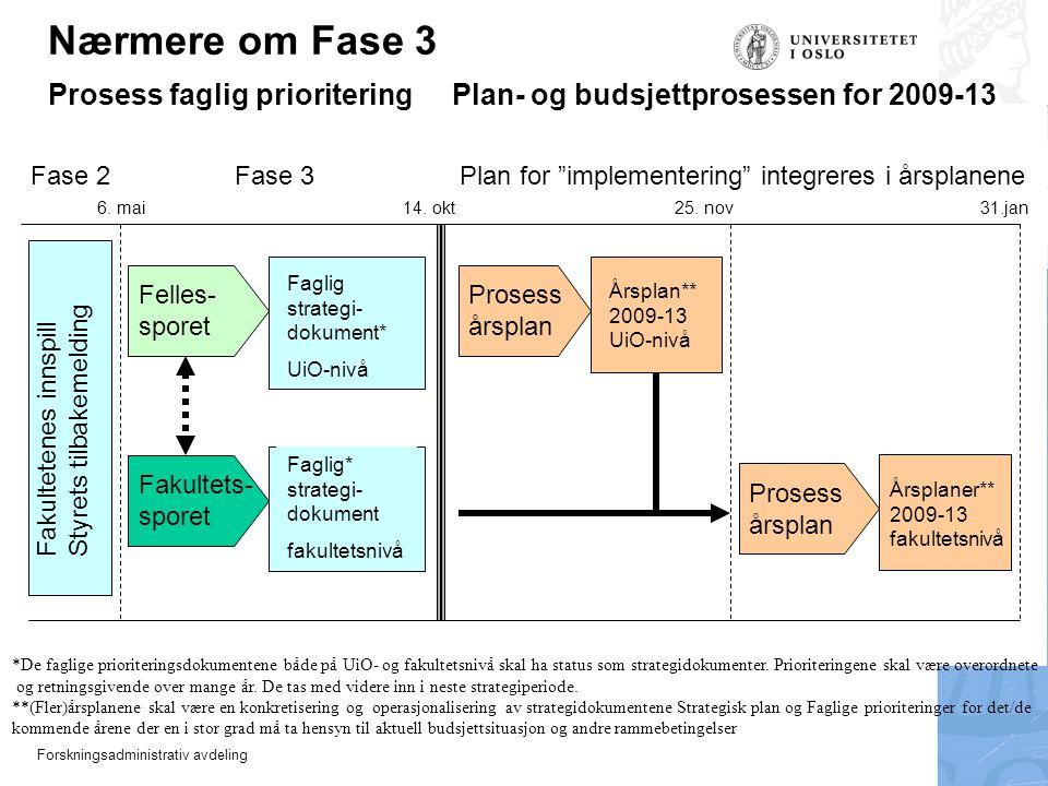 """Forskningsadministrativ avdeling Fase 2 Fase 3 Plan for """"implementering"""" integreres i årsplanene 31.jan 6. mai14. okt25. nov Fakultetenes innspillStyr"""