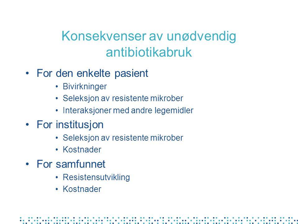 Konsekvenser av unødvendig antibiotikabruk For den enkelte pasient Bivirkninger Seleksjon av resistente mikrober Interaksjoner med andre legemidler Fo