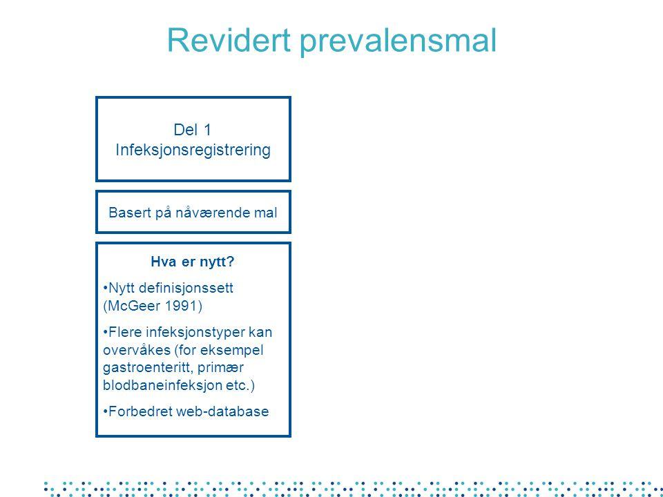 Del 1 Infeksjonsregistrering Hva er nytt? Nytt definisjonssett (McGeer 1991) Flere infeksjonstyper kan overvåkes (for eksempel gastroenteritt, primær