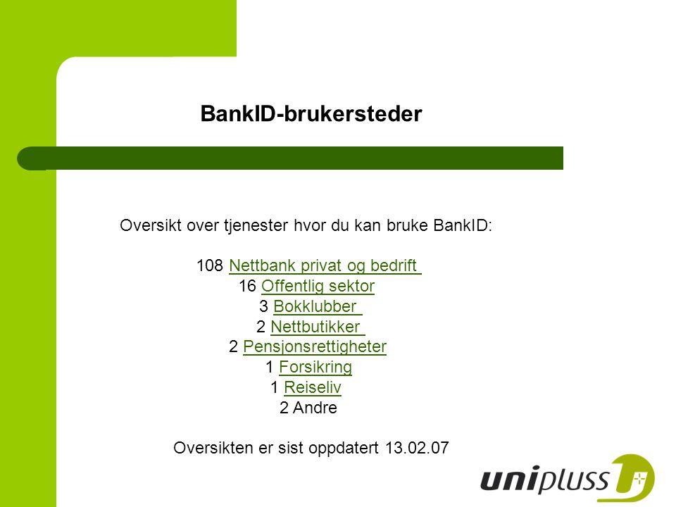 BankID-brukersteder Oversikt over tjenester hvor du kan bruke BankID: 108 Nettbank privat og bedrift Nettbank privat og bedrift 16 Offentlig sektor Of