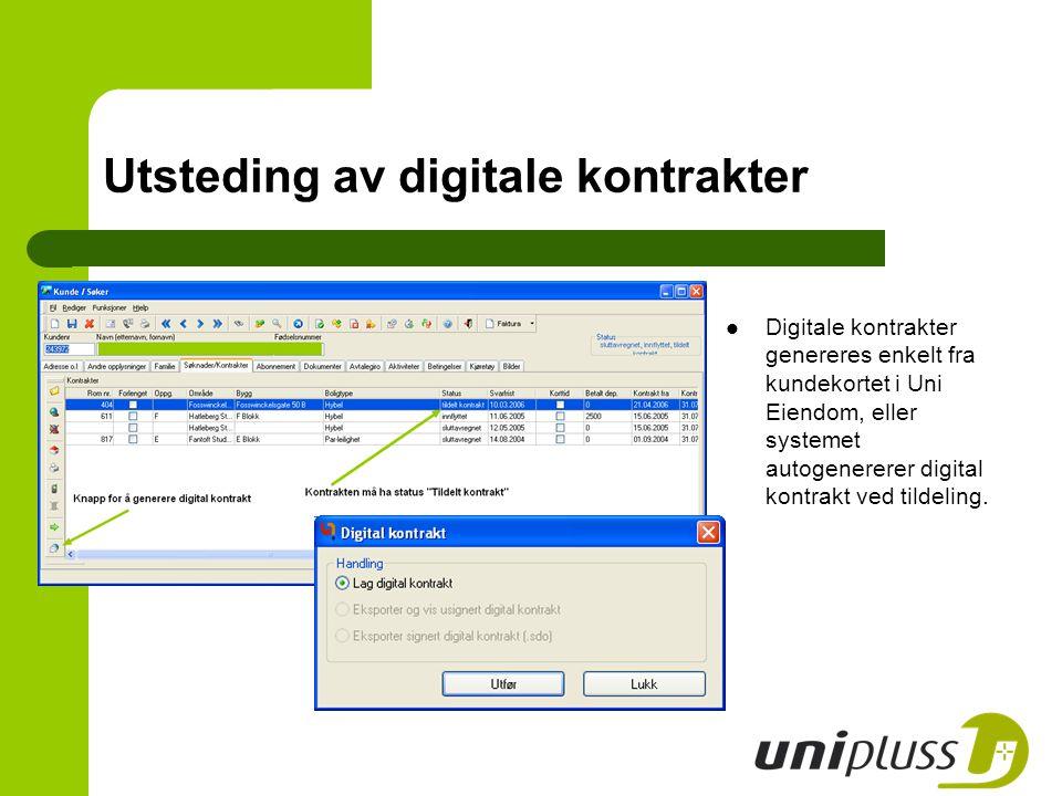 Digitale kontrakter genereres enkelt fra kundekortet i Uni Eiendom, eller systemet autogenererer digital kontrakt ved tildeling. Utsteding av digitale
