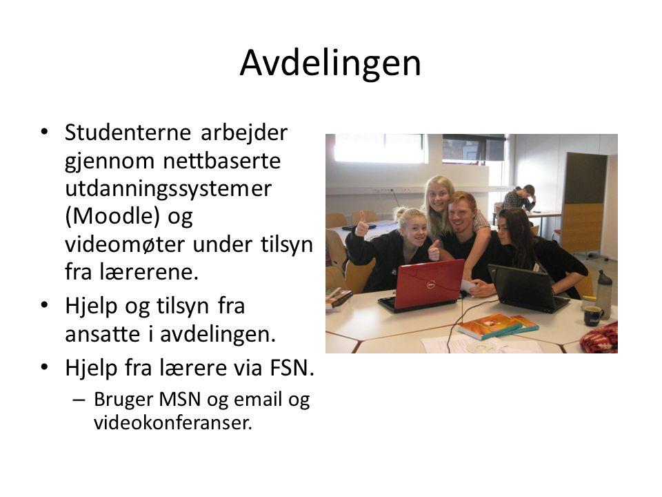 Avdelingen Studenterne arbejder gjennom nettbaserte utdanningssystemer (Moodle) og videomøter under tilsyn fra lærerene.