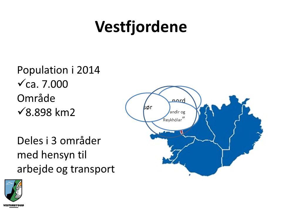 Sørdelen av Vestfjordene Vesturbyggð kommune: -Populasjon – 980 + Talknafjordur kommune: -Populasjon - 297 Område 1.339 km2 TOTAL = 1.280