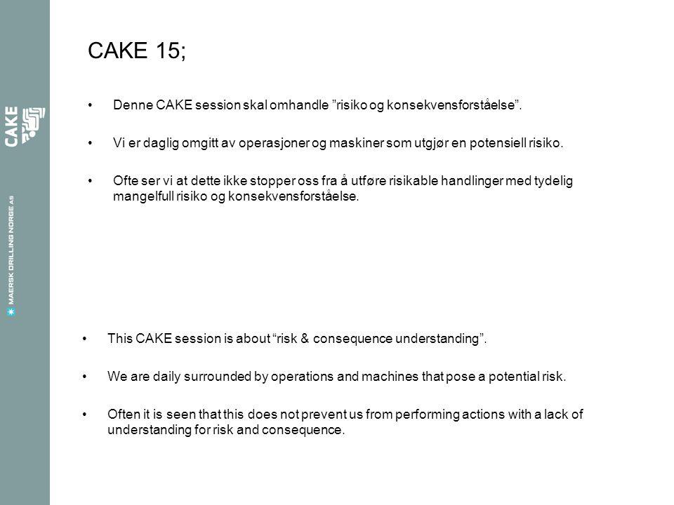 CAKE 15; Denne CAKE session skal omhandle risiko og konsekvensforståelse .