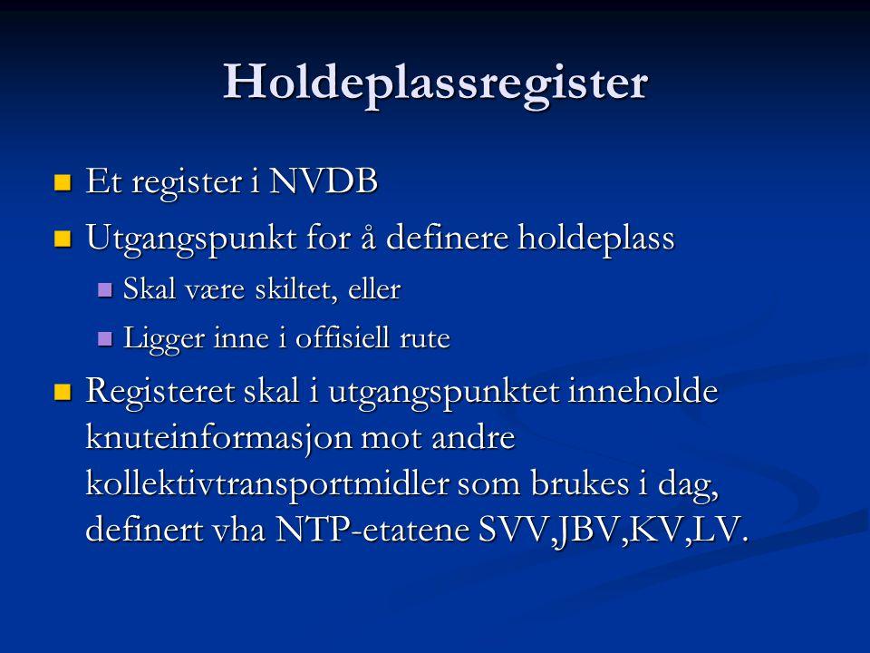 Holdeplassregister Et register i NVDB Et register i NVDB Utgangspunkt for å definere holdeplass Utgangspunkt for å definere holdeplass Skal være skiltet, eller Skal være skiltet, eller Ligger inne i offisiell rute Ligger inne i offisiell rute Registeret skal i utgangspunktet inneholde knuteinformasjon mot andre kollektivtransportmidler som brukes i dag, definert vha NTP-etatene SVV,JBV,KV,LV.