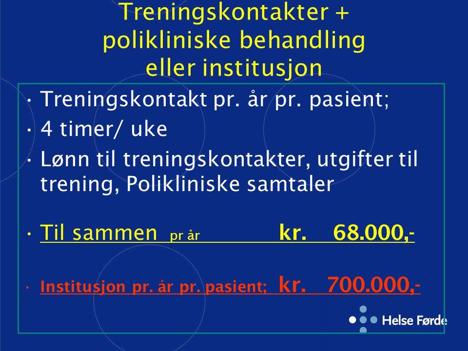 Treningskontakter + polikliniske behandling eller institusjon Treningskontakt pr. år pr. pasient; 4 timer/ uke Lønn til treningskontakter, utgifter ti