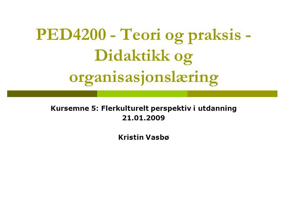 PED4200 - Teori og praksis - Didaktikk og organisasjonslæring Kursemne 5: Flerkulturelt perspektiv i utdanning 21.01.2009 Kristin Vasbø