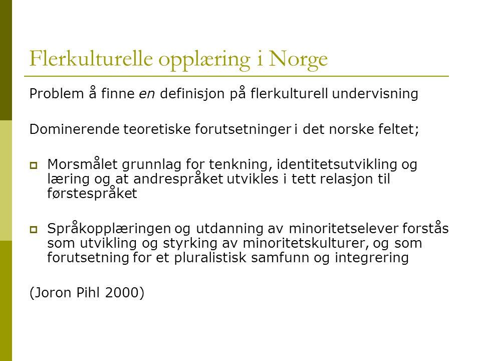 Flerkulturelle opplæring i Norge Problem å finne en definisjon på flerkulturell undervisning Dominerende teoretiske forutsetninger i det norske feltet;  Morsmålet grunnlag for tenkning, identitetsutvikling og læring og at andrespråket utvikles i tett relasjon til førstespråket  Språkopplæringen og utdanning av minoritetselever forstås som utvikling og styrking av minoritetskulturer, og som forutsetning for et pluralistisk samfunn og integrering (Joron Pihl 2000)