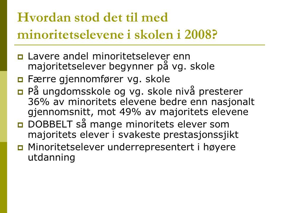 Hvordan stod det til med minoritetselevene i skolen i 2008.