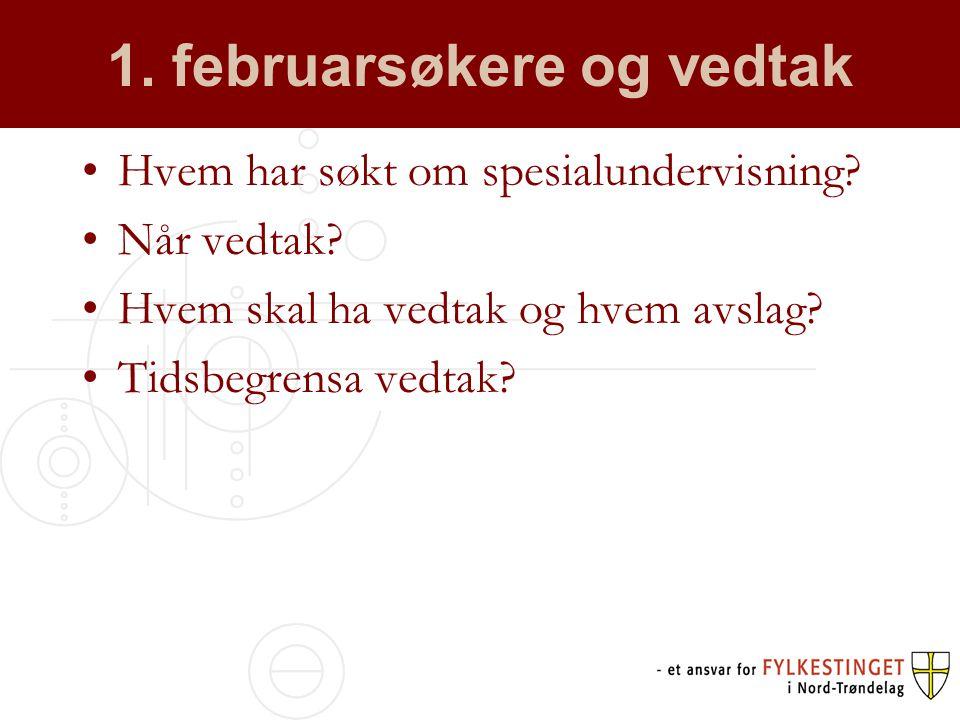1. februarsøkere og vedtak Hvem har søkt om spesialundervisning.