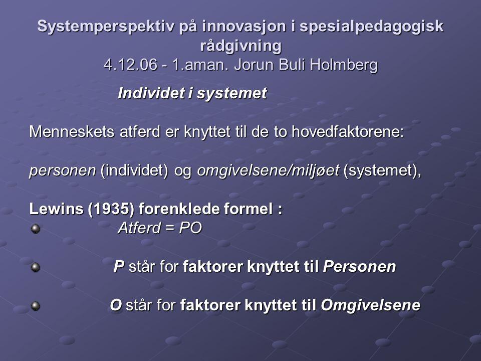Systemperspektiv på innovasjon i spesialpedagogisk rådgivning 4.12.06 - 1.aman. Jorun Buli Holmberg Individet i systemet Individet i systemet Menneske