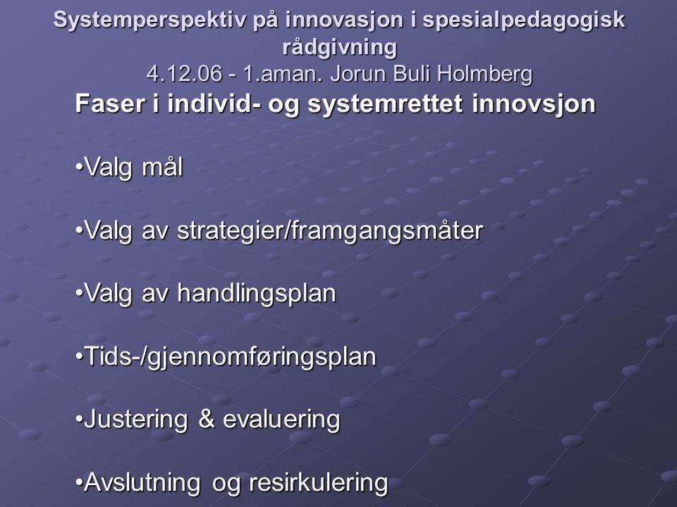 Systemperspektiv på innovasjon i spesialpedagogisk rådgivning 4.12.06 - 1.aman. Jorun Buli Holmberg Faser i individ- og systemrettet innovsjon Valg må